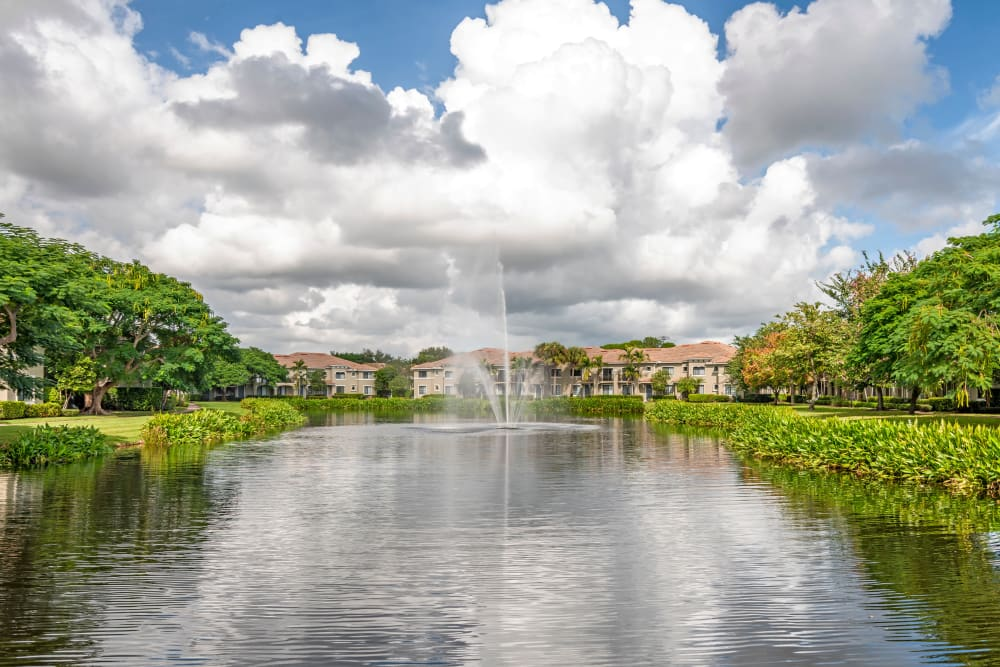 Pond with fountain at apartments in Palm Beach Gardens, Florida