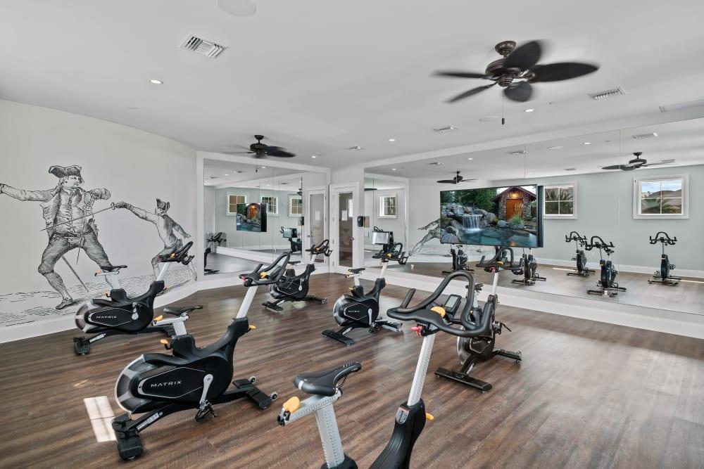 Spin studio in the fitness center at Town Lantana in Lantana, Florida