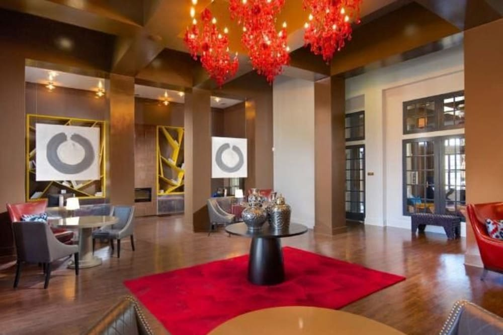 Lavishly decorated resident clubhouse interior at The Hawthorne in Jacksonville, Florida