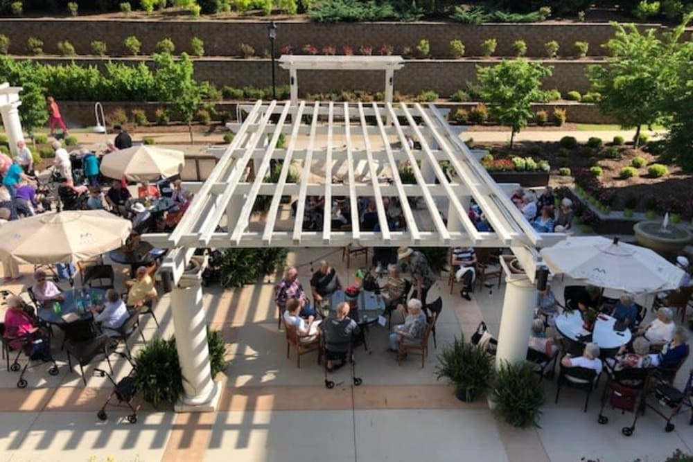 Patio party at Merrill Gardens at Madison in Madison, Alabama.