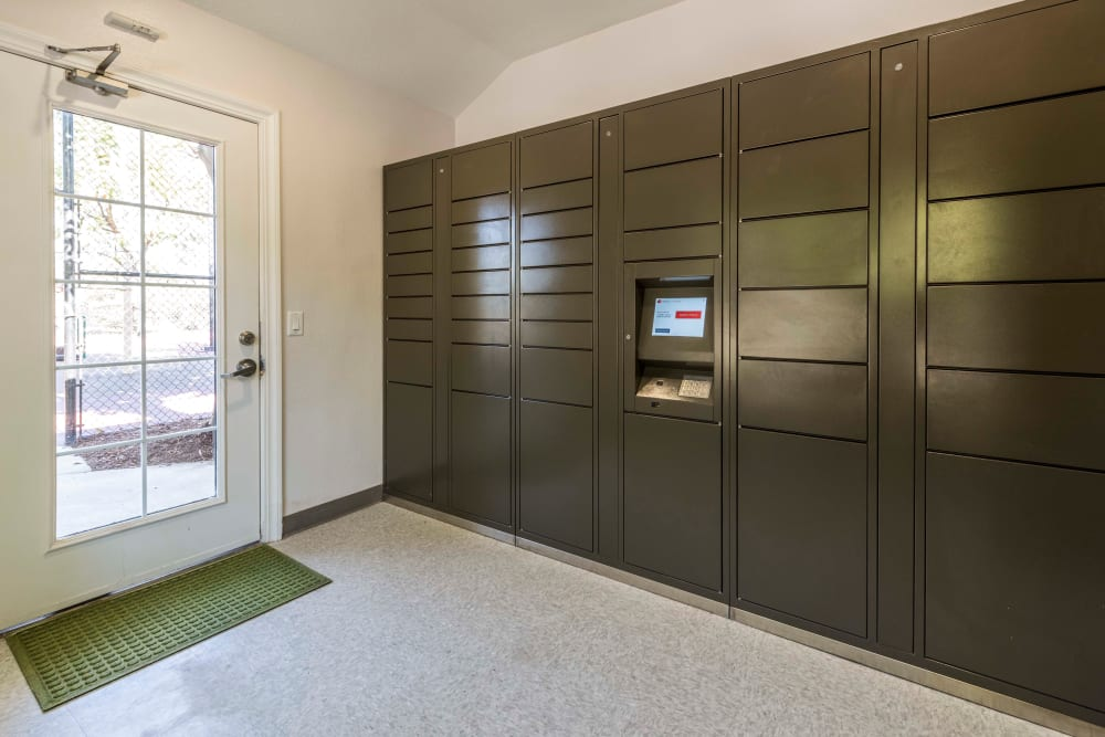 The convenient package room at Village Oaks in Chino Hills, California