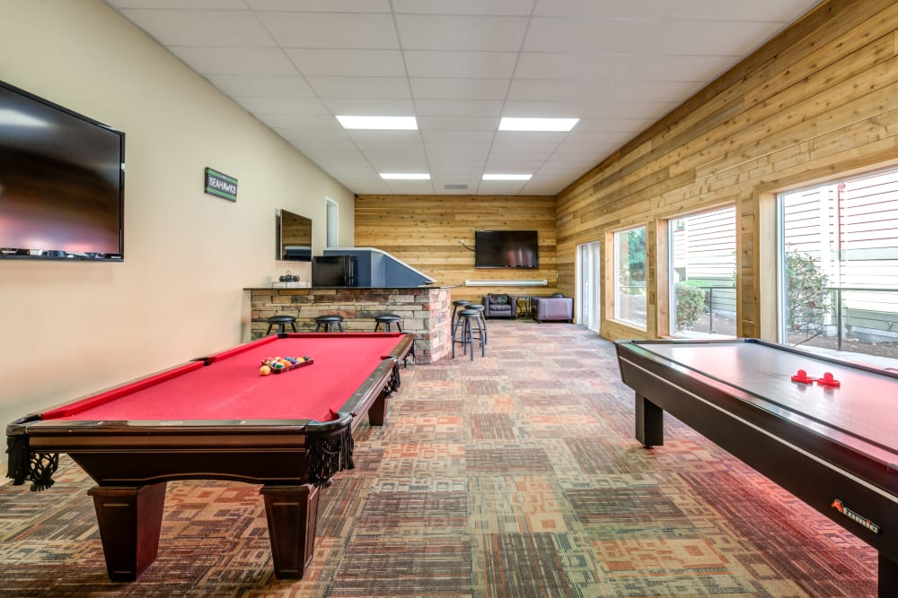 Chestnut Hills Apartments clubhouse game room in Puyallup, Washington