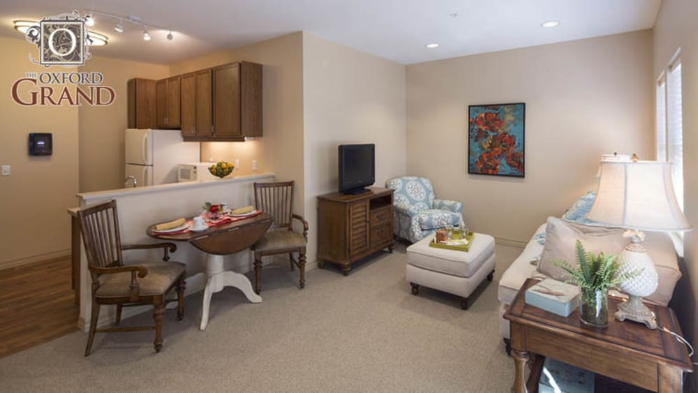 Living room inside of our senior apartments at The Oxford Grand Assisted Living & Memory Care in Wichita, Kansas
