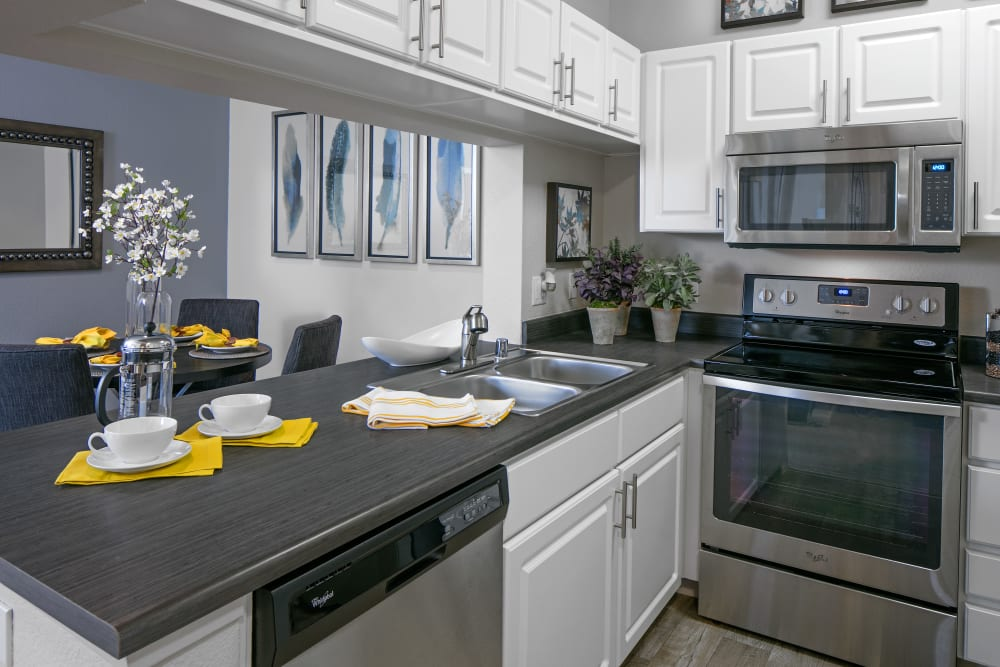 Beautiful, gourmet kitchen in a model home at Cortland Village Apartment Homes in Hillsboro, Oregon