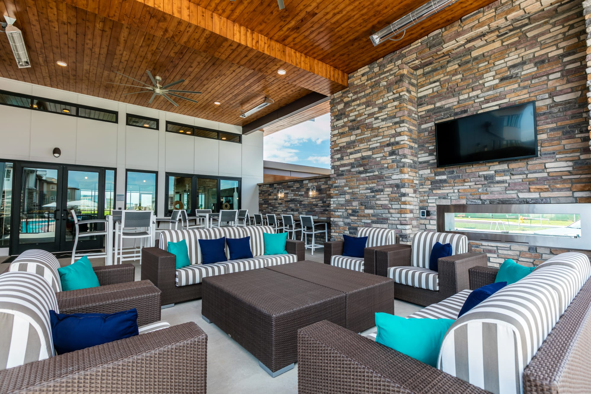 The outdoor lounge at Strata Apartments is the perfect place to hang with friends