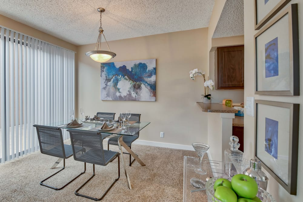 Cozy dining room at The Enclave at 1550 Apartments in San Antonio, Texas
