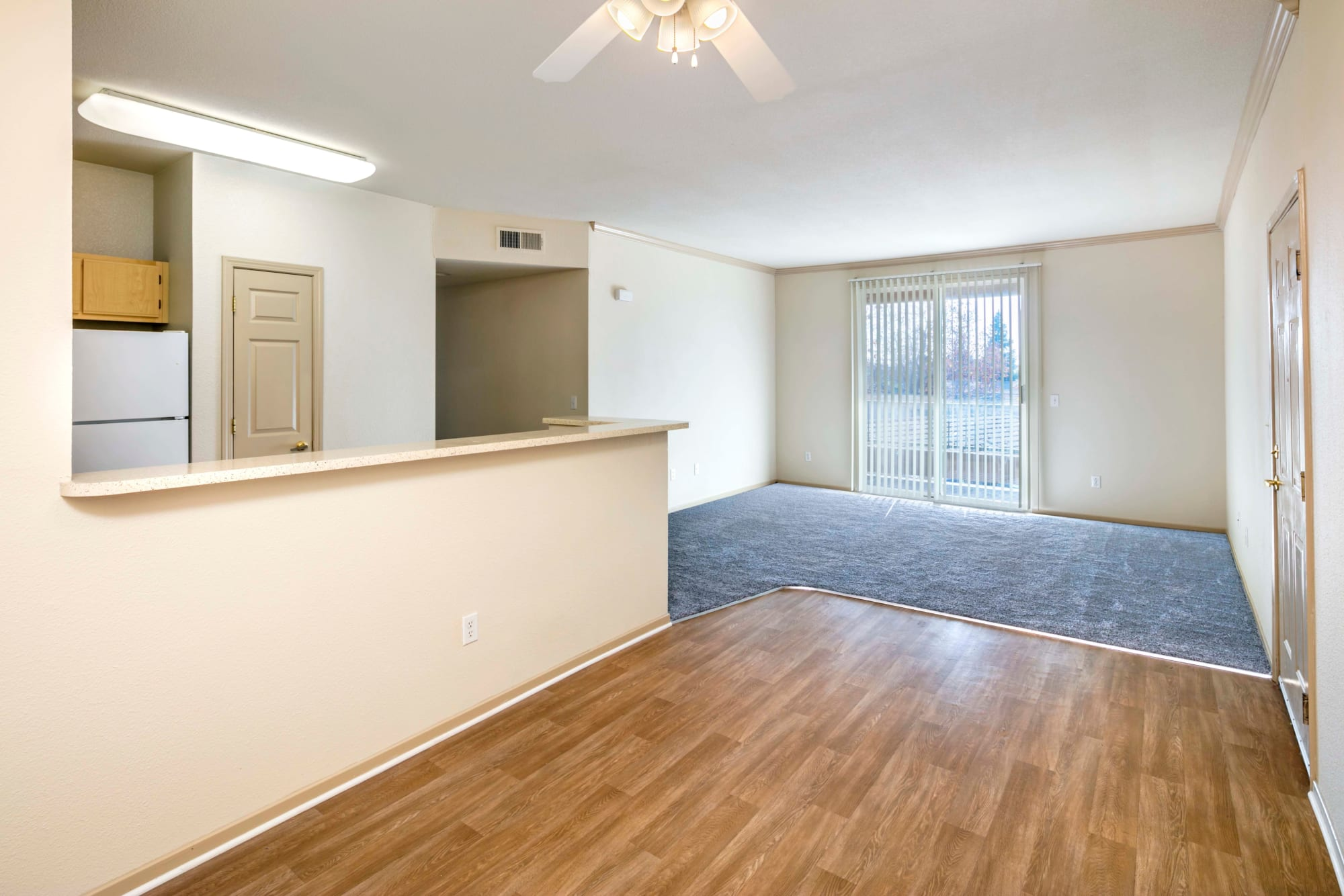 The entry to a room at Natomas Park Apartments in Sacramento, California