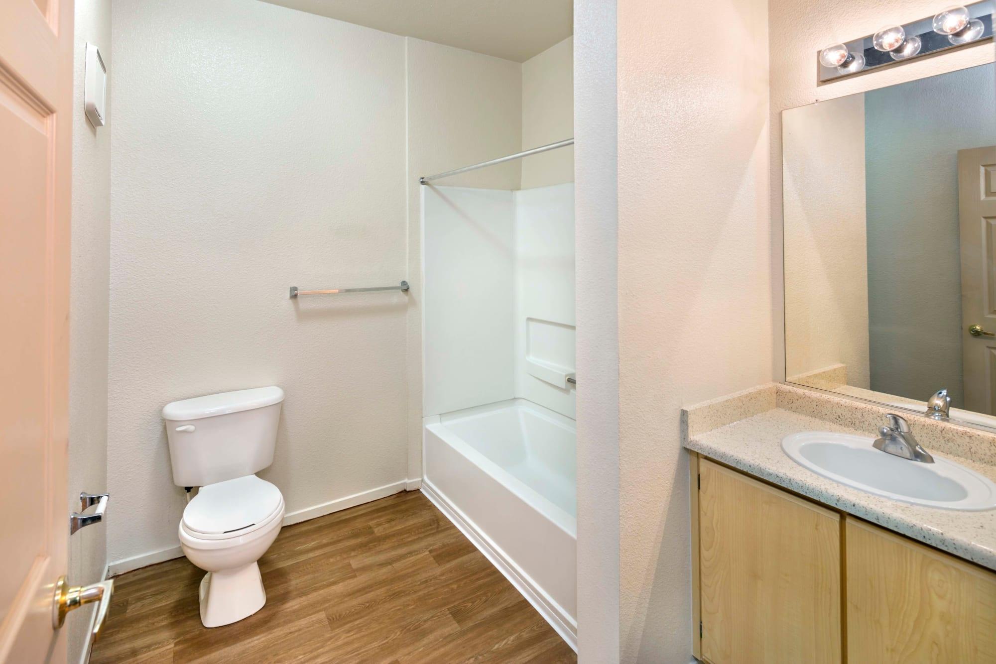 A bathroom layout at Natomas Park Apartments in Sacramento, California