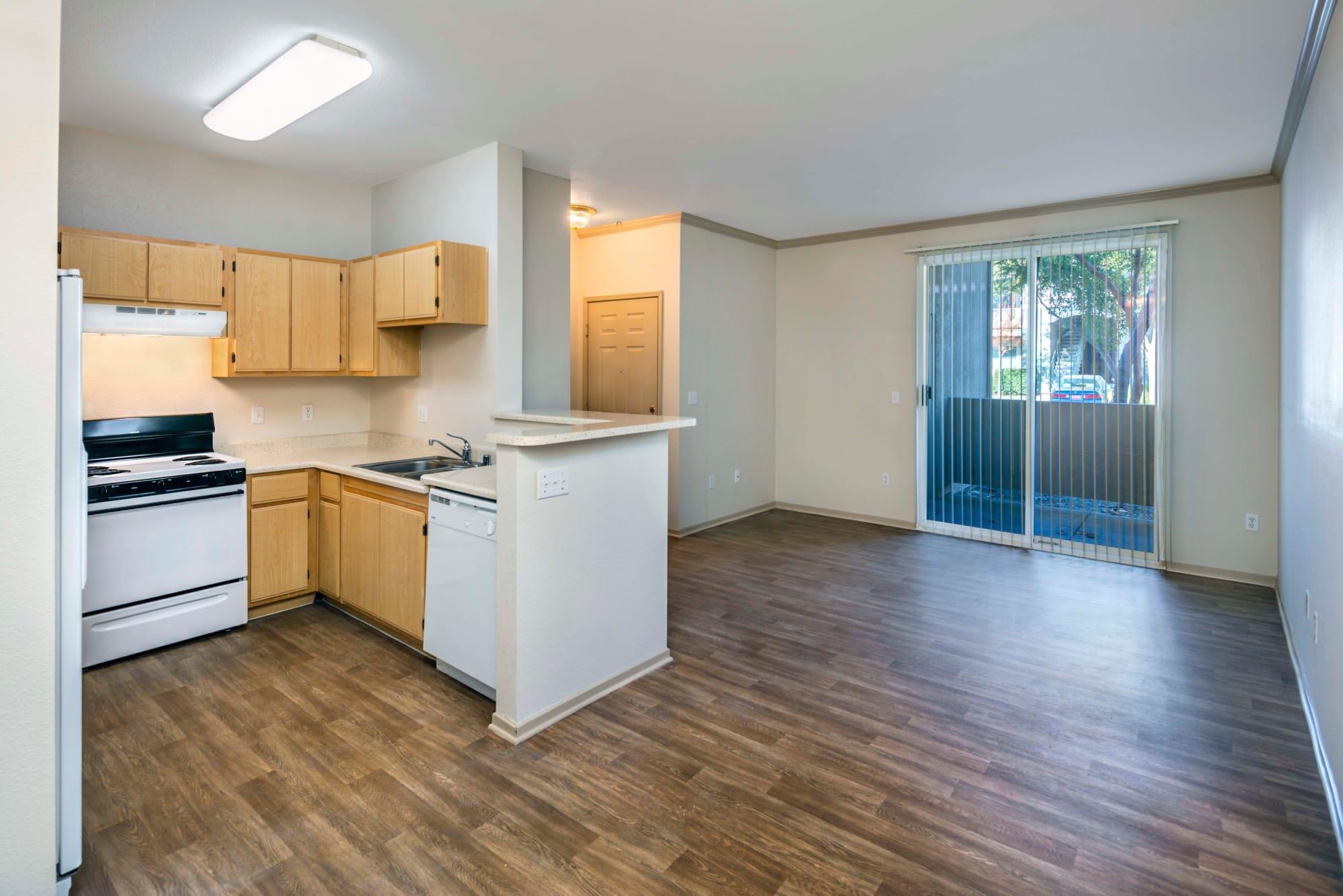 Beautiful hardwood floor room layout at Natomas Park Apartments in Sacramento, California