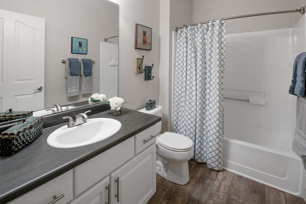 Lovely model bathroom at Cortland Village Apartment Homes in Hillsboro, Oregon