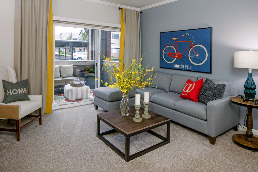Well decorated model living room at Cortland Village Apartment Homes in Hillsboro, Oregon