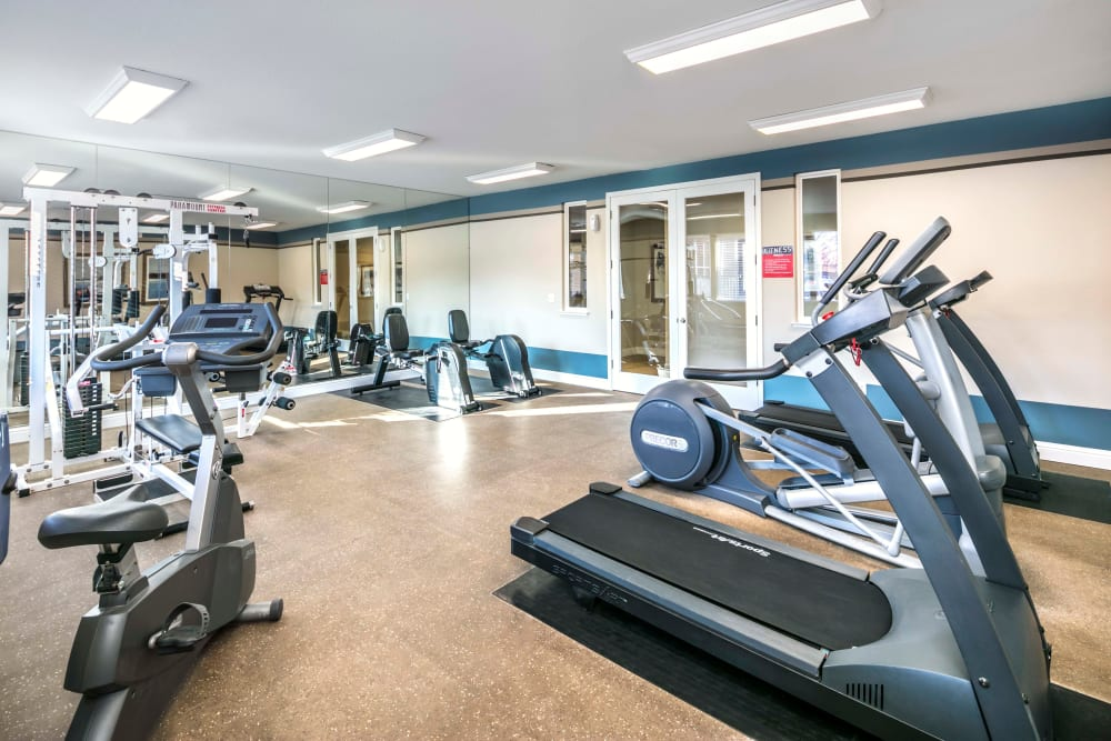 Fitness center with plenty of individual workout stations at Natomas Park Apartments in Sacramento, California