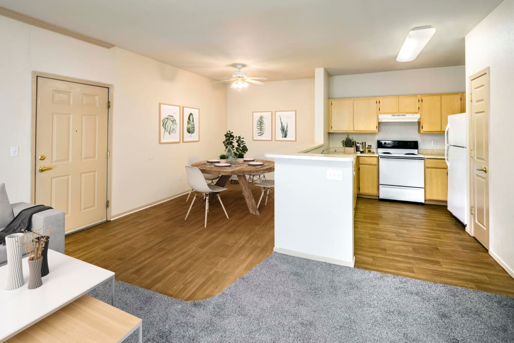 Beautiful hardwood-style flooring at Natomas Park Apartments in Sacramento, California