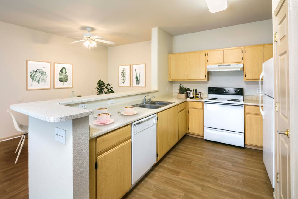A kitchen with plenty of cabinet space at Natomas Park Apartments in Sacramento, California