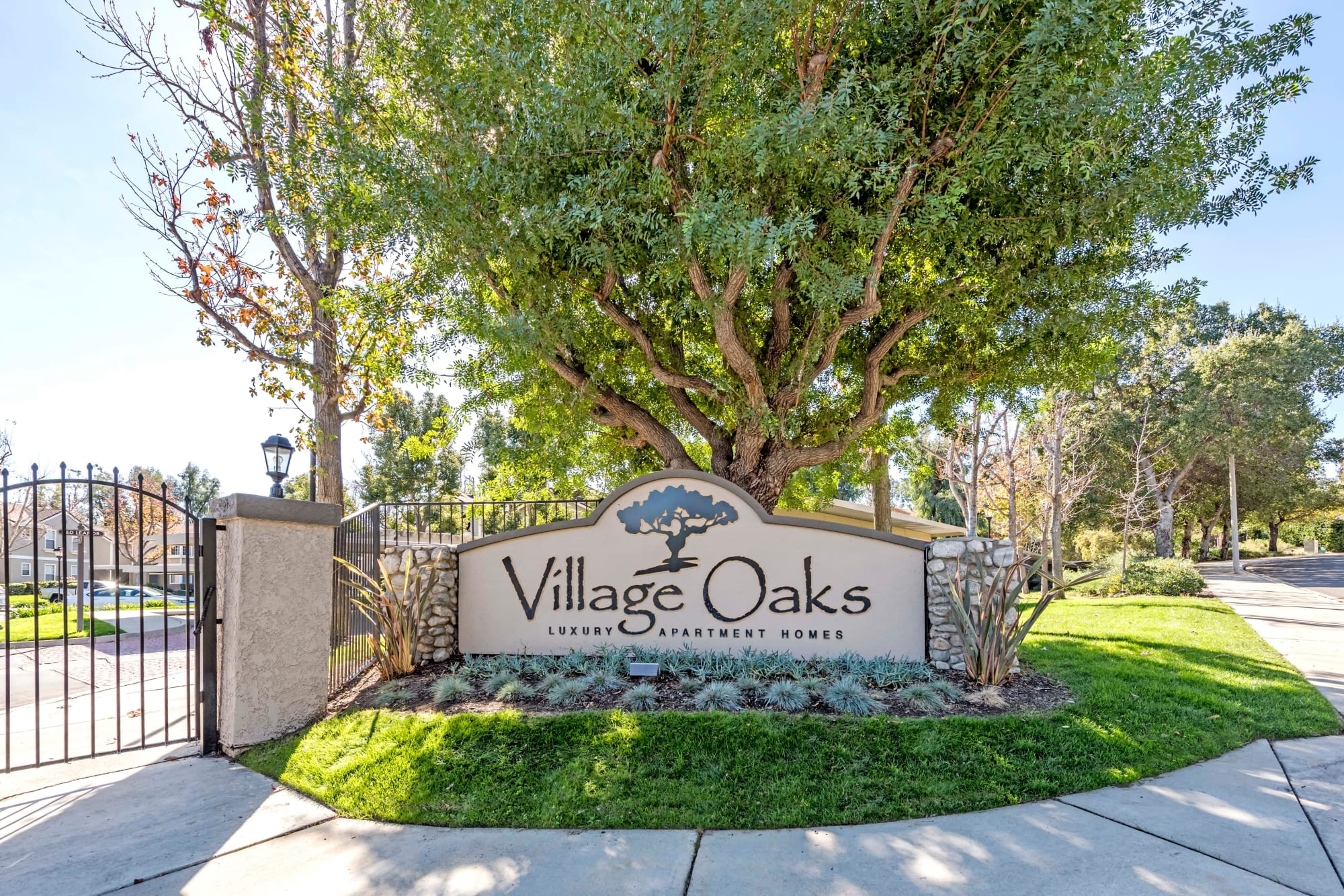 Monument sign at Village Oaks in Chino Hills, California