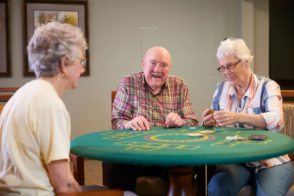 Residents playing card games in Florence, Oregon