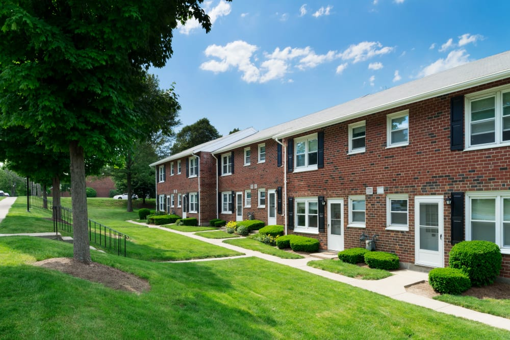 Lovely exterior of units at Greenwoods in Brockton, Massachusetts