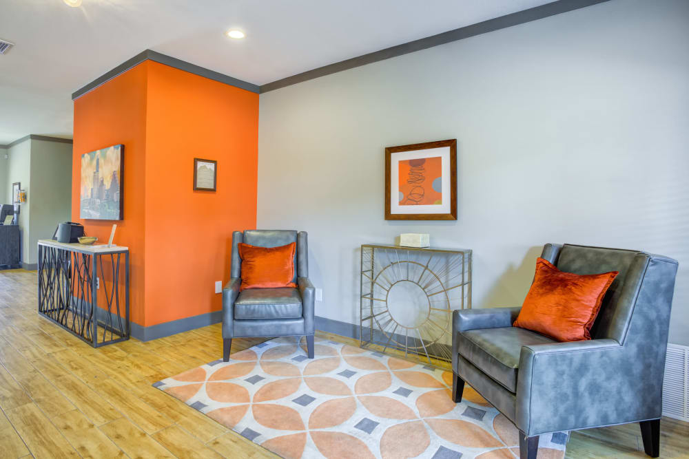 Living room at Enclave at Water's Edge Apartments in Austin, Texas
