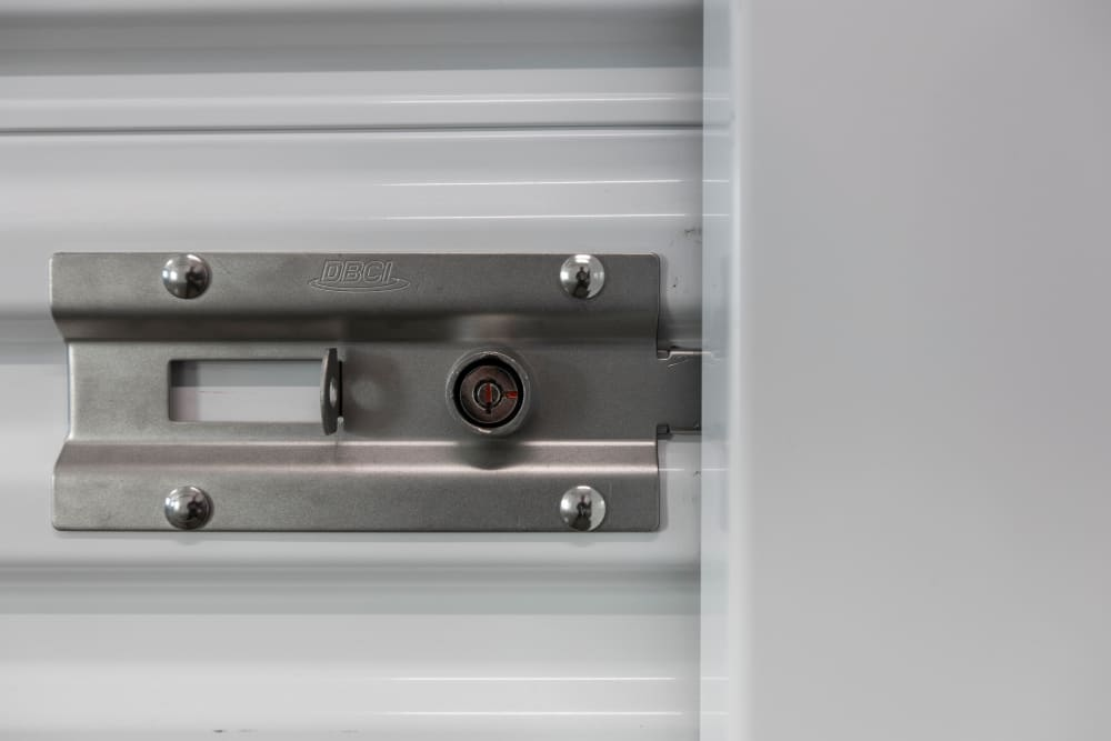 Unit latches that require high-security barrel lock at Ballinger Heated Storage in Shoreline, Washington