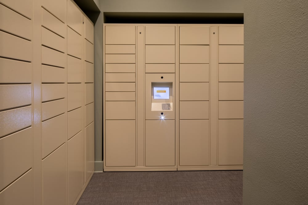 Secure package delivery area with keypad and lockers at  in San Antonio,TX