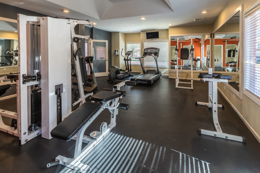 Fitness center with plenty of individual workout stations at Shadowbrook Apartments in West Valley City, Utah