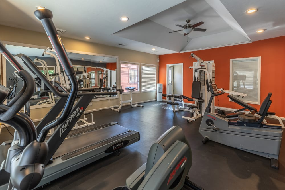 Clean, modern community gym at Shadowbrook Apartments in West Valley City, Utah