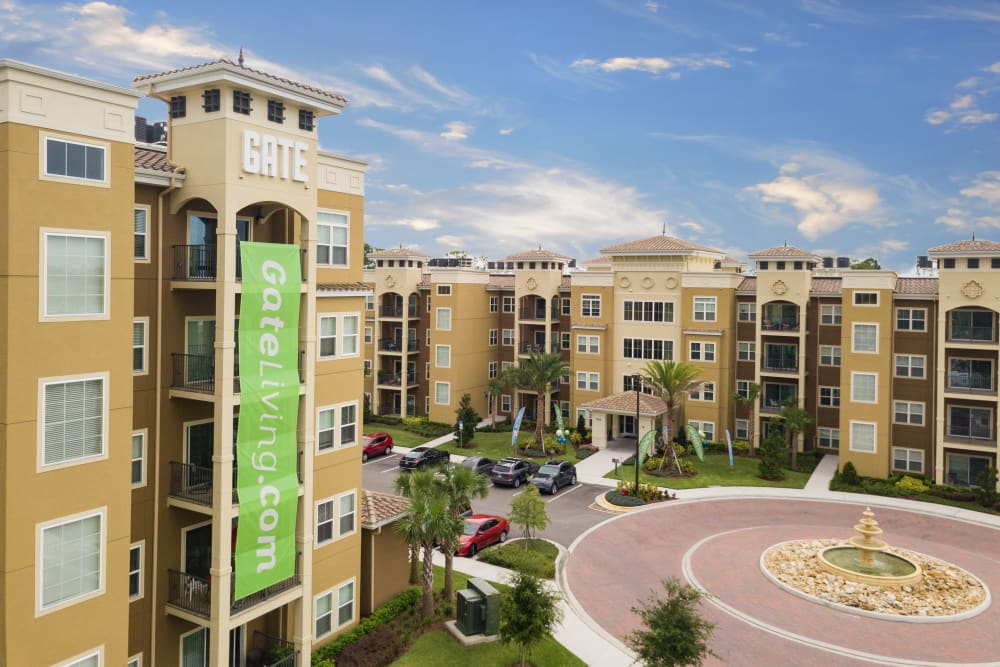Exterior shot of The Gate Apartments in Champions Gate, Florida