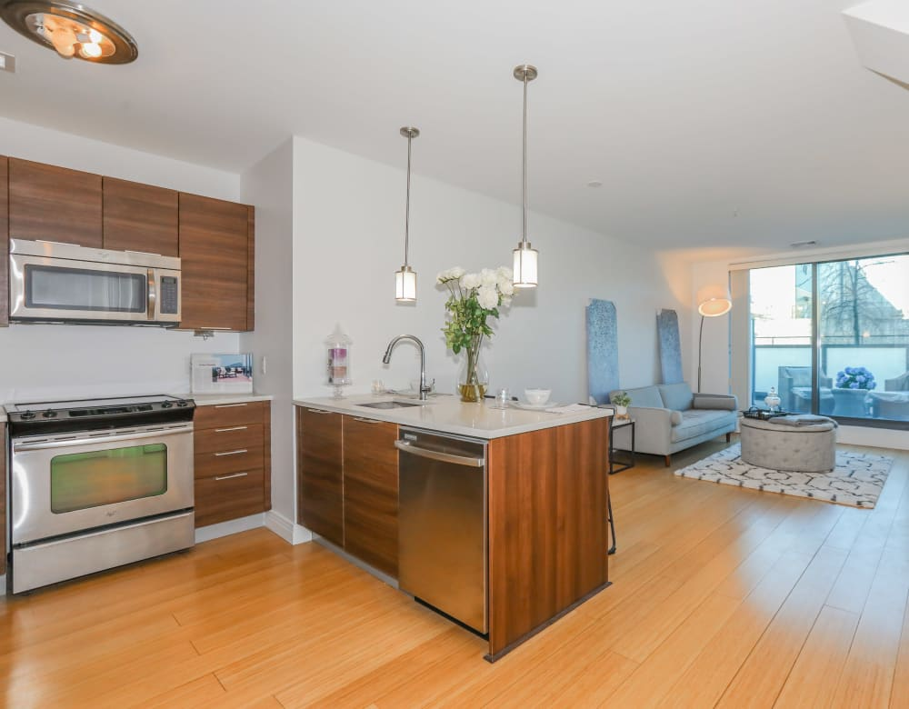 Kitchen and dining area at Monarch at Ridge Hill in Yonkers, New York