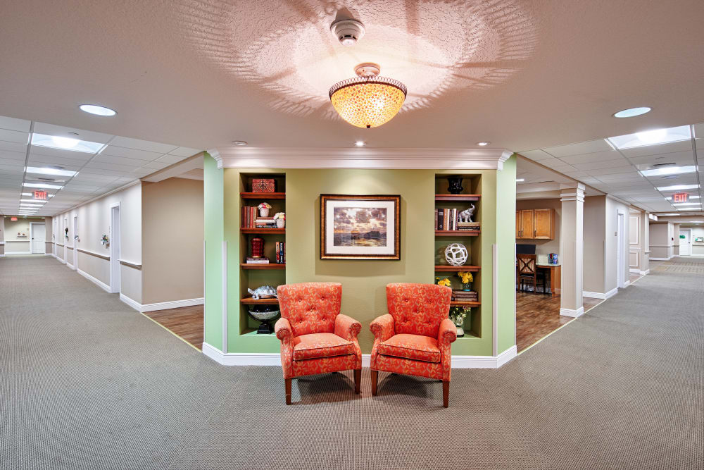 Elegantly appointed corridors at The Springs At South Biscayne in North Port, Florida.
