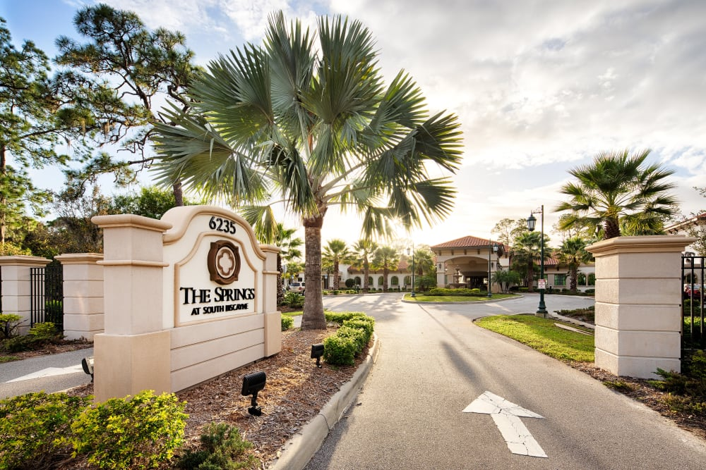 Main entrance and signage at The Springs At South Biscayne in North Port, Florida.