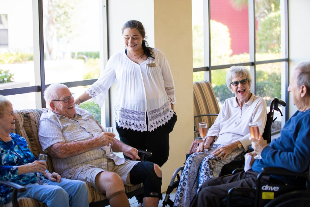 Residents enjoying happy hour at The Fountains of Hope in Sarasota, Florida.