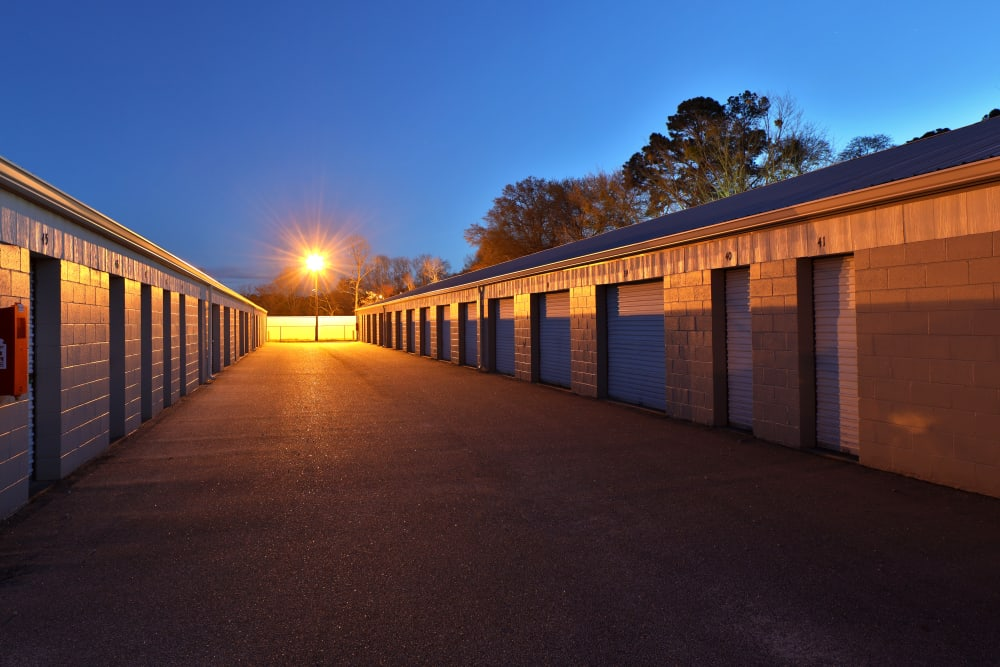 storage units at dusk at StayLock Storage in Mauldin, South Carolina