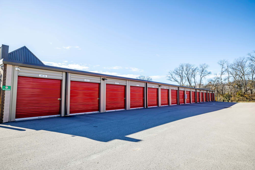Drive up access to outdoor storage units at Metro Self Storage in Franklin