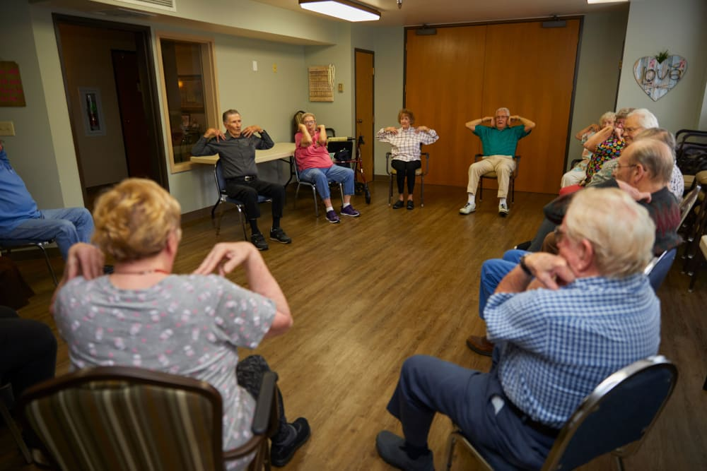 Residents exercising together at Shorewood Senior Living in Florence