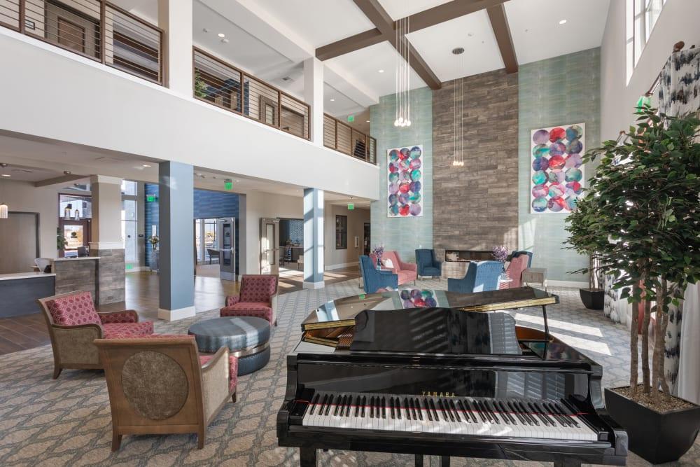 grand living room piano at WellQuest of Elk Grove in Elk Grove, California