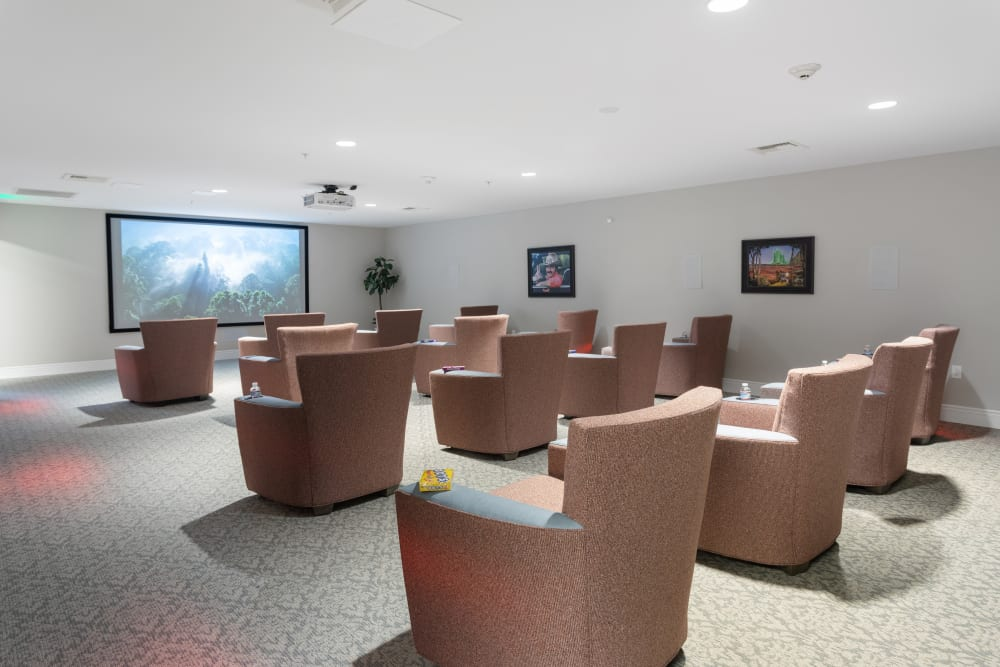 theater with cozy seating at WellQuest of Elk Grove in Elk Grove, California