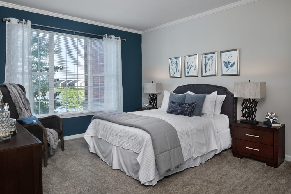 Beautiful bedroom at Waltonwood Lakeside in Sterling Heights, MI