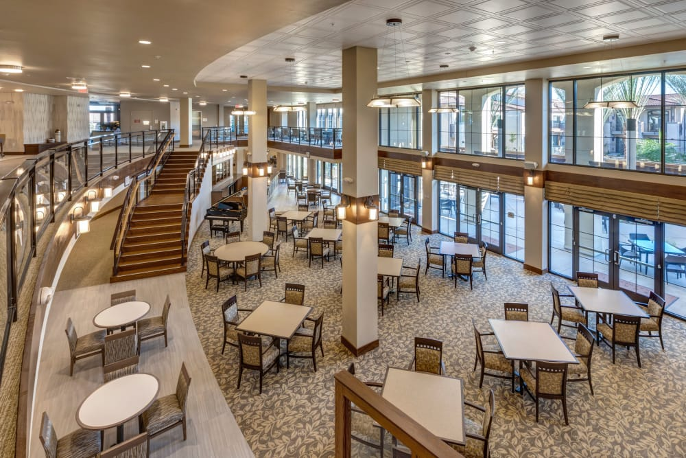 Community dining space with large windows