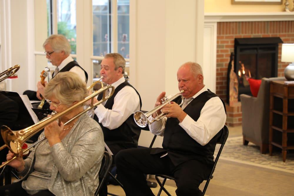 Silvery Moon Band playing at Merrill Gardens at Madison in Madison, Alabama.