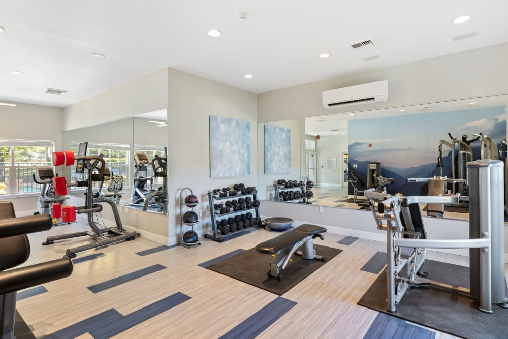 Clean, modern community gym at Pebble Cove Apartments in Renton, Washington