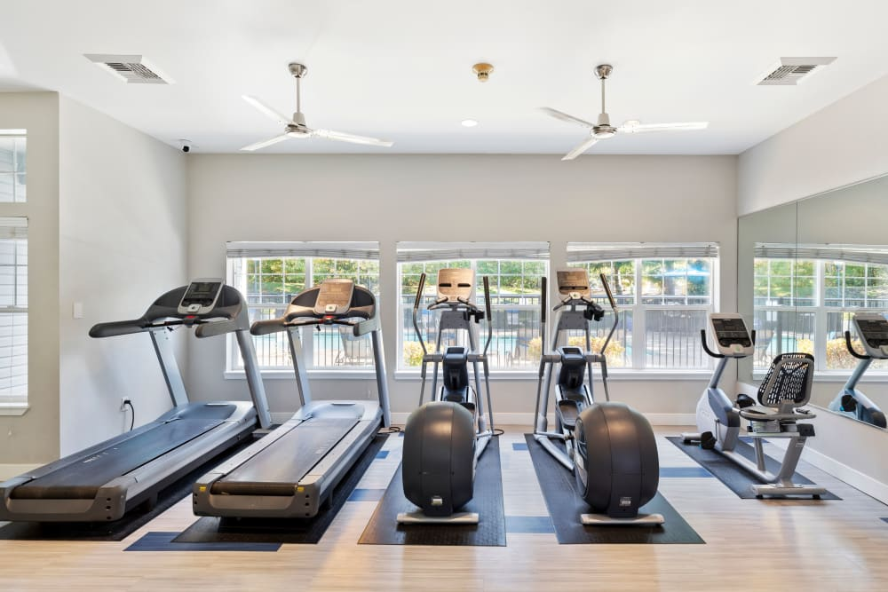 Fitness equipment at Pebble Cove Apartments in Renton, Washington