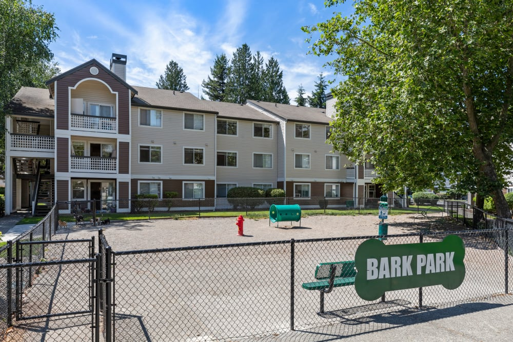 Have fun with your furry friend in the dog park at Olin Fields Apartments in Everett, Washington