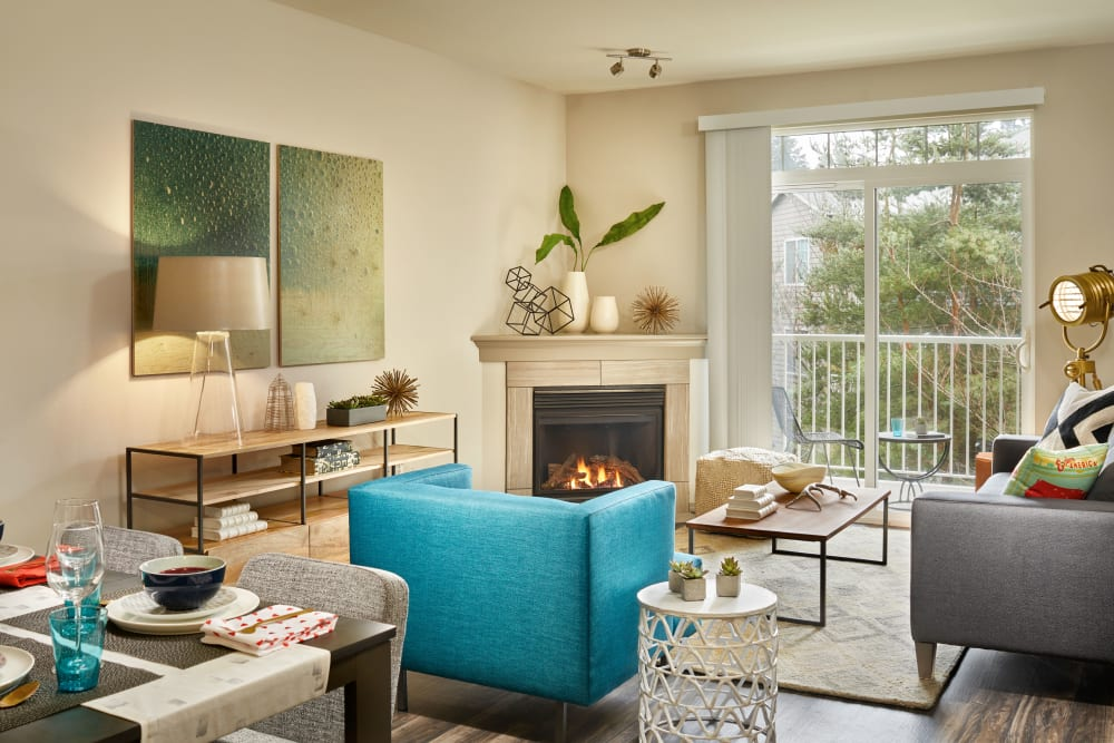 Comfortable seating in an apartment living room at Brookside Village in Auburn, Washington