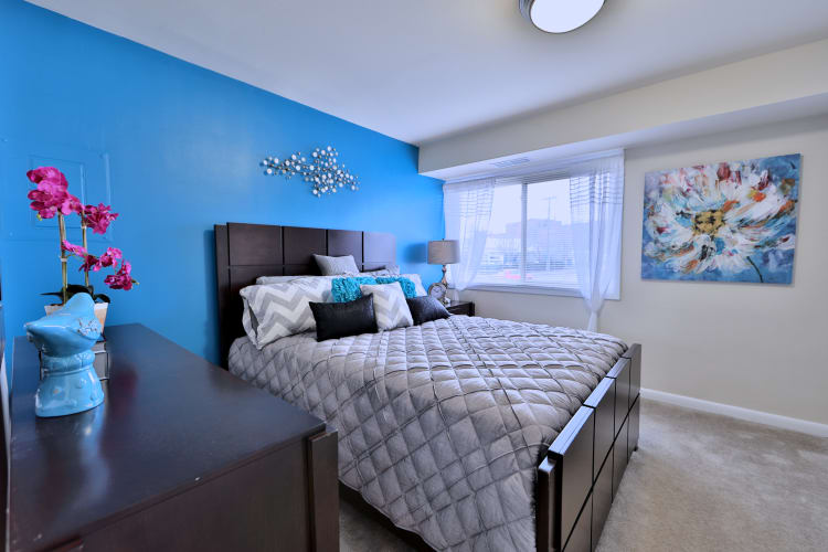 Luxury bedroom at apartments in Randallstown, Maryland