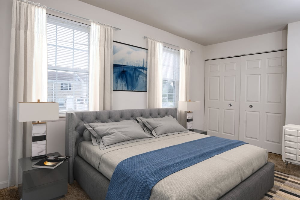 Bedroom at Commons at White Marsh Apartments.