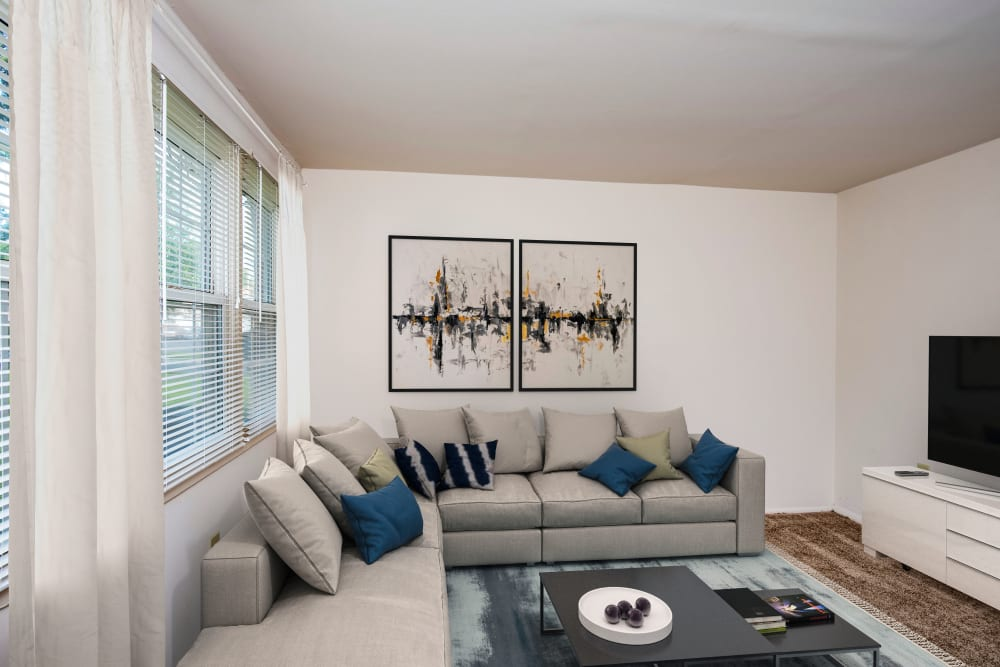 Unique living room at apartments in Essex, Maryland