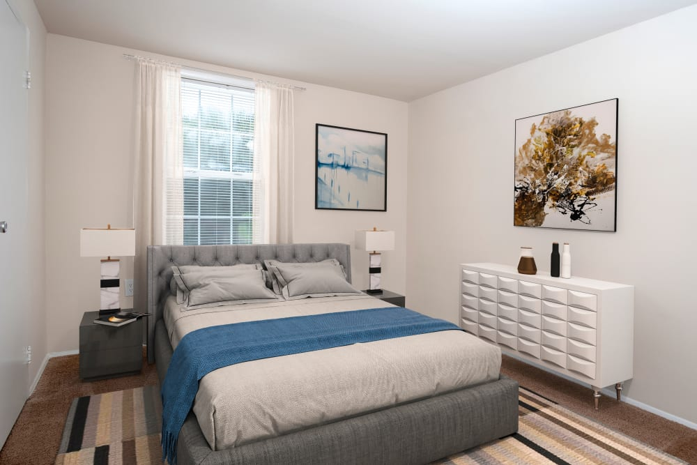 Naturally well-lit bedroom at Fontana Village in Rosedale, Maryland