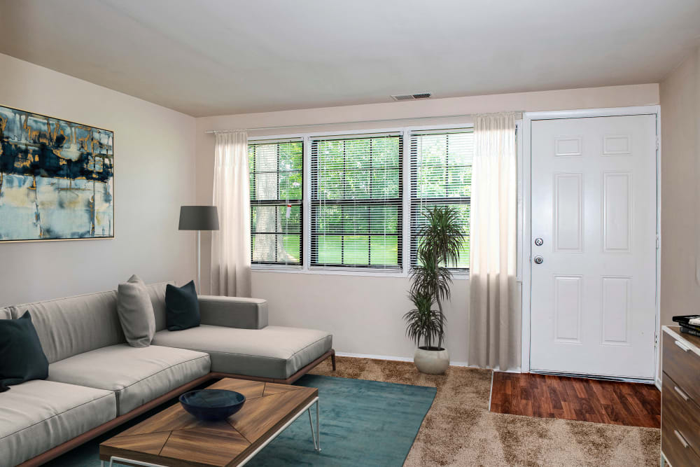 Riverview Townhomes offers a unique living room in Halethorpe, Maryland