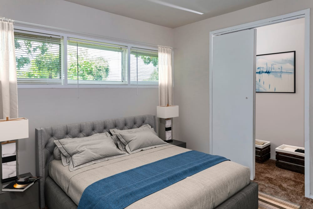 Naturally well-lit bedroom at Riverview Townhomes in Halethorpe, Maryland