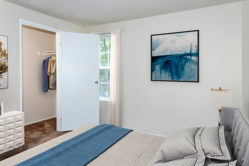 Modern apartments with a bedroom at Riverview Townhomes